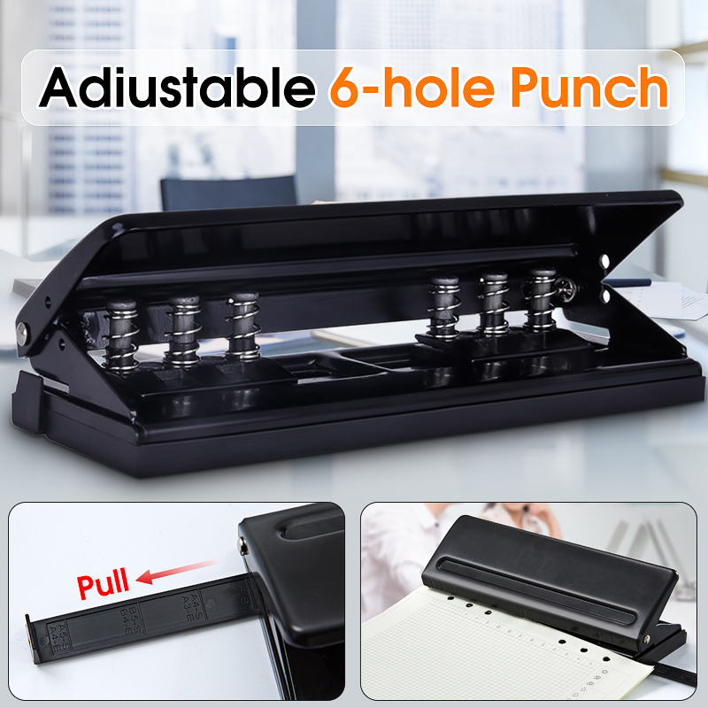 Adjustable 6-Holes Punch Loose-leaf Diaries Organizers Paper Punch Staplers