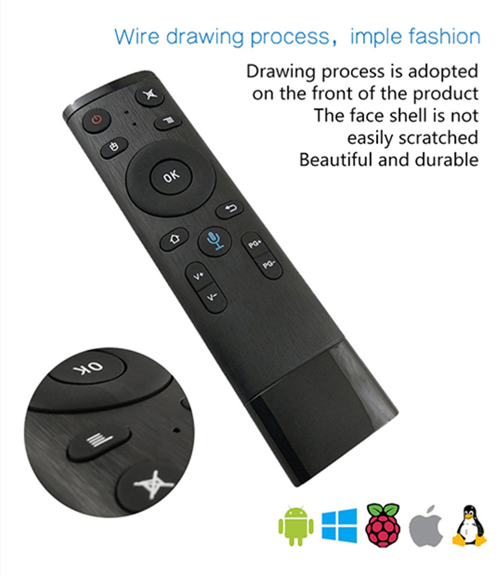 Q5 bluetooth/2.4GHz WIFI Voice Remote Control Air Mouse With USB Receiver For Smart TV Android Box