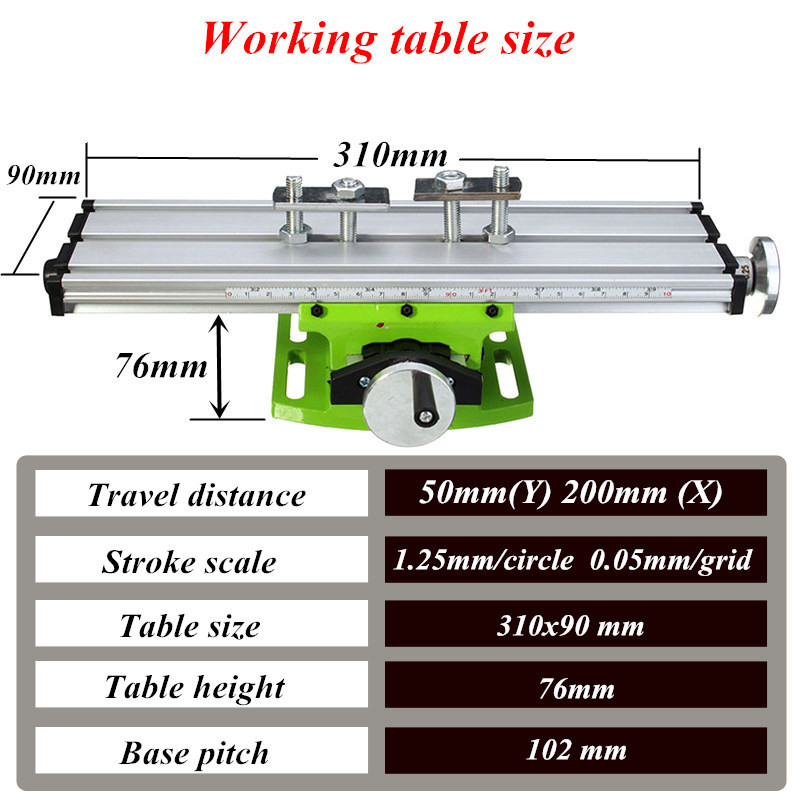 MINIQ BG6300 Mini Precision Milling Machine Worktable Multifunction Drill Vise Fixture Working Table