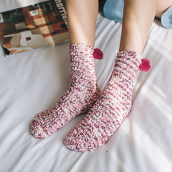 Women Cute Mixed Color Coral Velvet Socks Winter Thicken Warm Middle Tube Socks