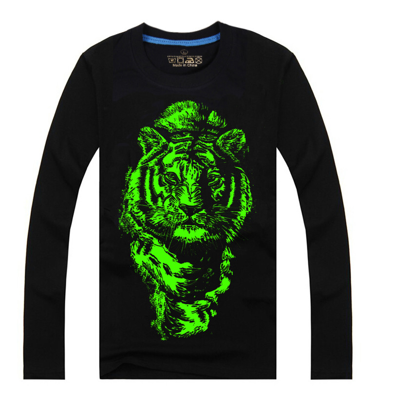 Men Cotton Blended 3D Printed Noctilucent Water Tiger Long Sleeve T-shirt
