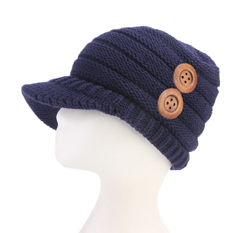 Womens Winter Warm Knitted Beanie Caps Brimless Knitted Cap