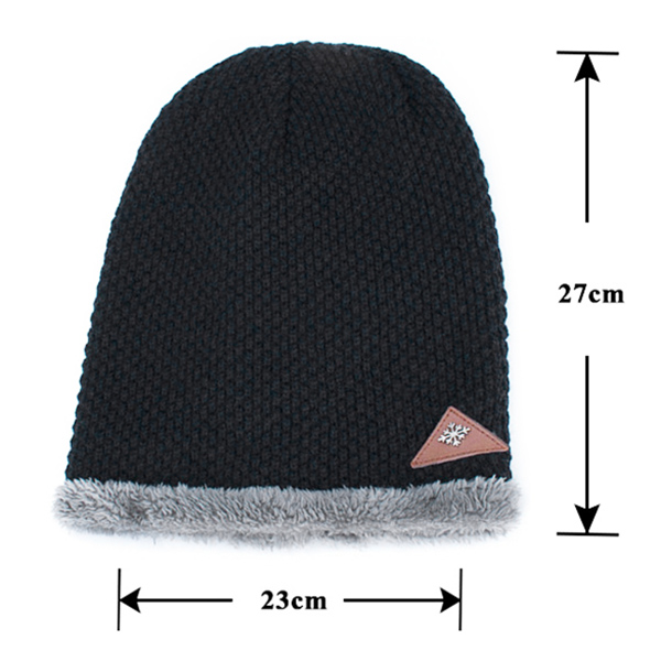 Mens Plus Velvet Warm Knitted Beanie Hat