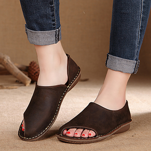 SOCOFY Leather Hollow Out Breathable Peep Toe Soft Flat Shoes