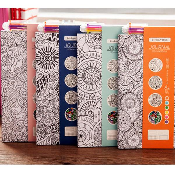 4pcs Secret Garden Creative Paper Coloring Notebook With 6 color Ballpoint Pen For Office School