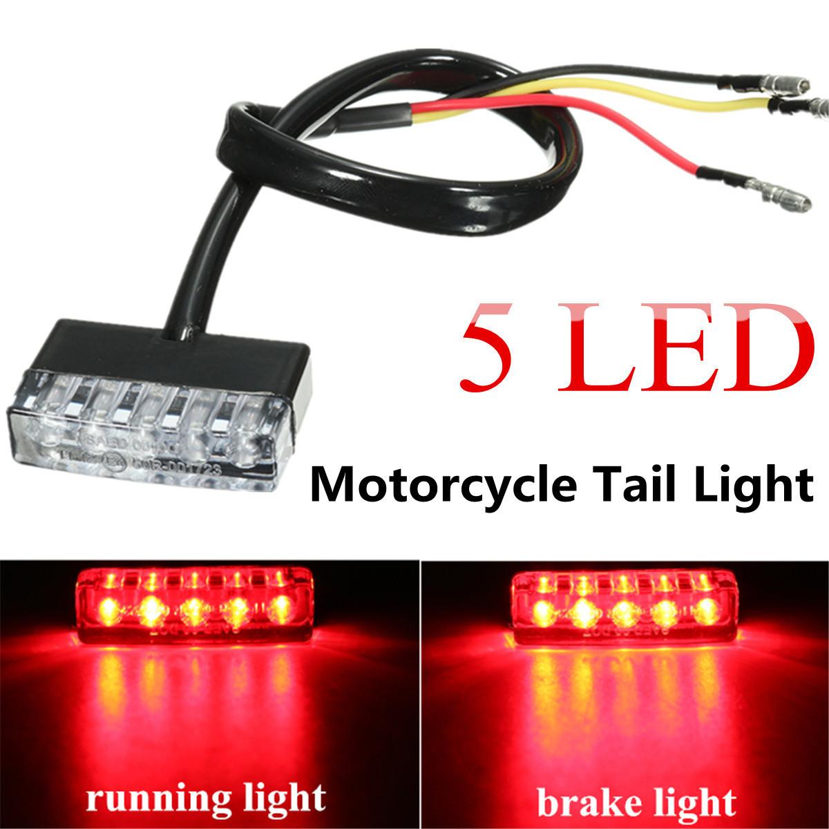 12V 5 LED Rear Tail Running Stop Brake Light Red Lamp Motorcycle ATV Bike