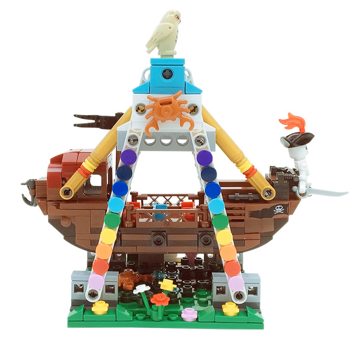 Genuine 520pcs Colorful World Series The Pirate Ship Set Building Blocks Bricks Educational Toys Mod