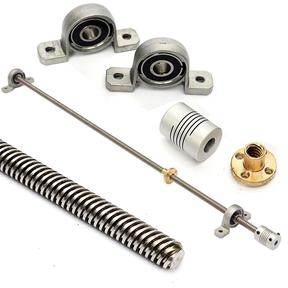 T8 1000mm Stainless Steel Lead Screw with Shaft Coupling and Mounting Support