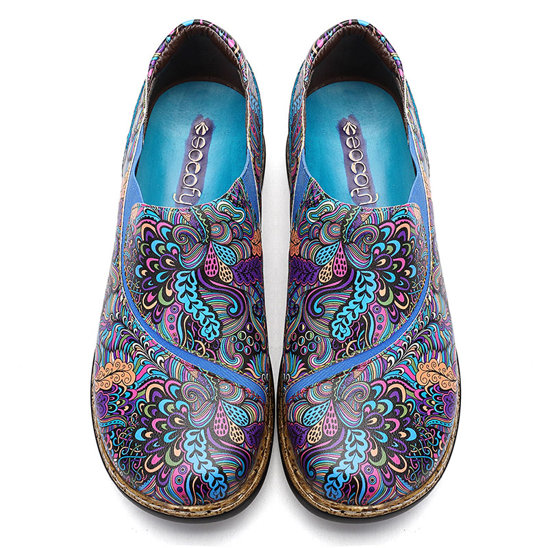 SOCOFY Leather Splicing Printed Pattern Slip On Casual Flats