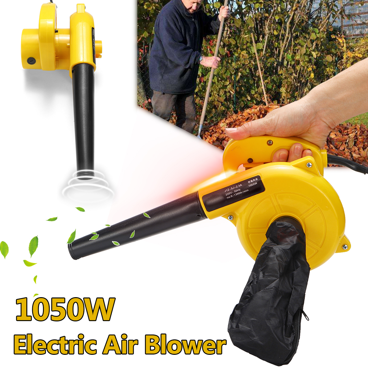 1050W Electric Leaf Blower Dust Leaf Vacuum Cleaner with Pack Electric Air Blower Vacuum Tool