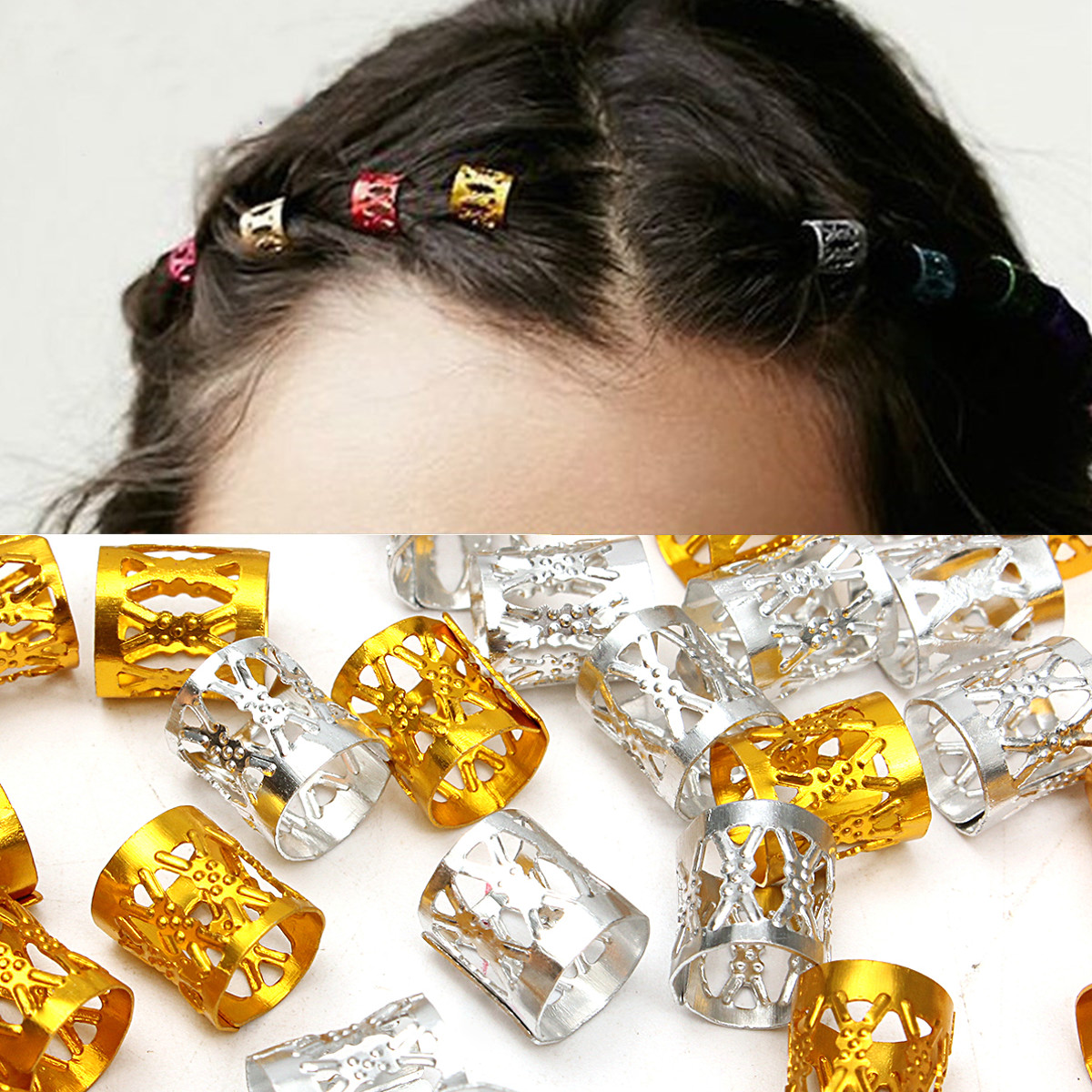 100Pcs 8mm Dreadlock Braiding Beads Braid Cuff Tubes Hair Clips Mixed Gold Silver Dreadlocks