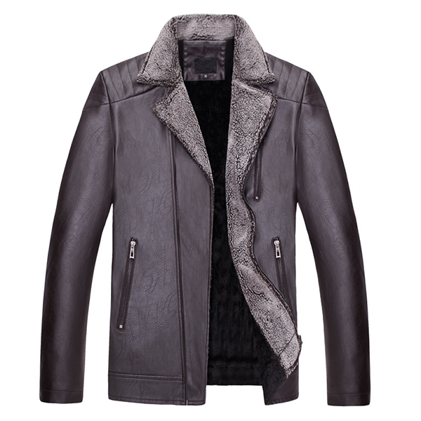 Mens Motorcycle Biker Thick Turn-down Collar Coat Zipper Pockets PU Leather Jacket