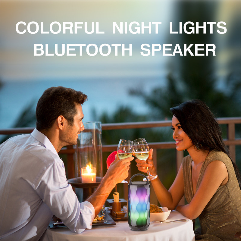 Portable HiFi LED Light Colorful Wireless bluetooth Speaker Smart Touch 2000mAh Heavy Bass Subwoofer