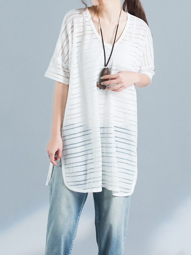Loose Casual Women Pure Color Half Sleeve Side Slit Cotton Blend T-shirts