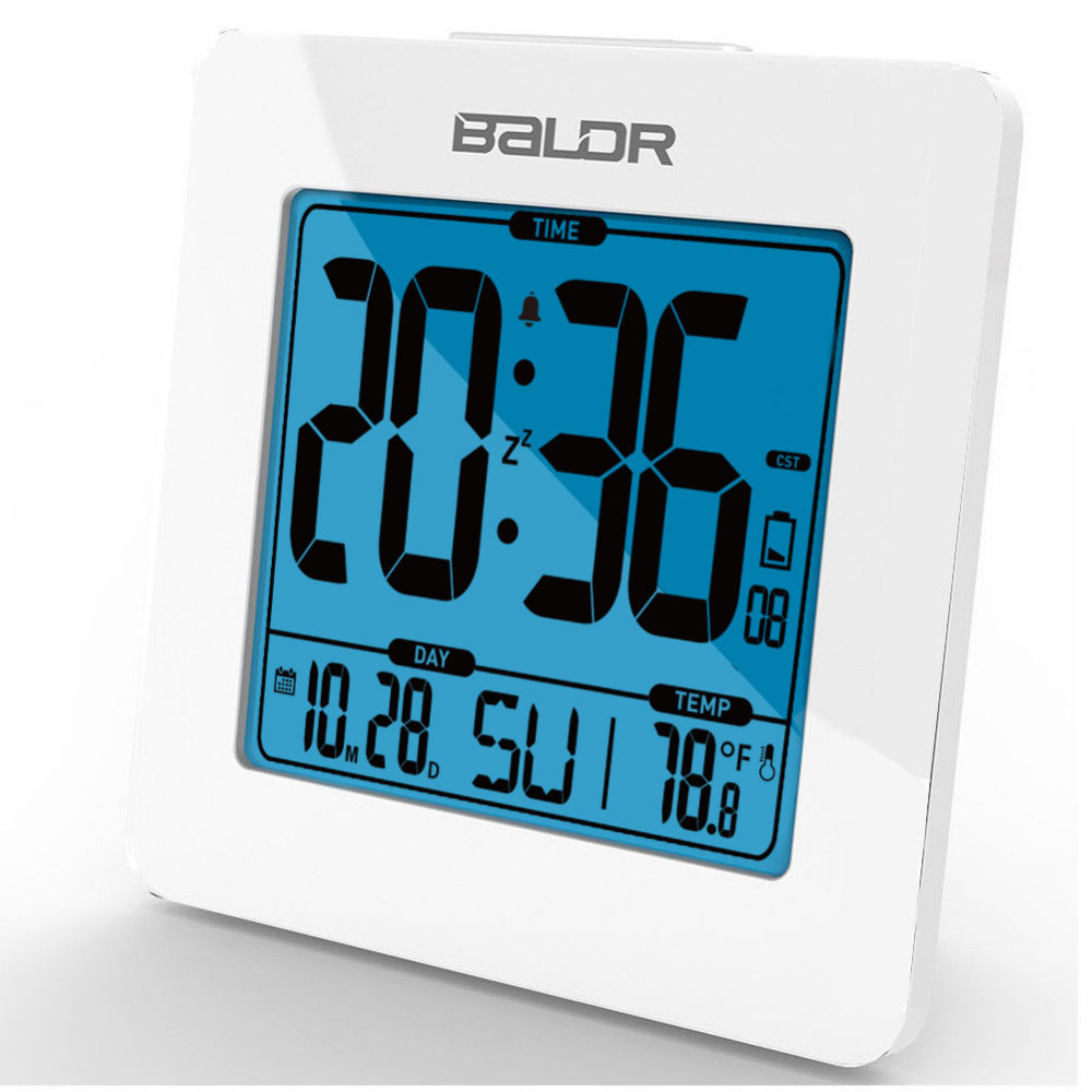BALDR B0114ST Thermometer Table Calendar Digital Snooze Alarm Clock Indoor Temperature Tester Blue Backlight