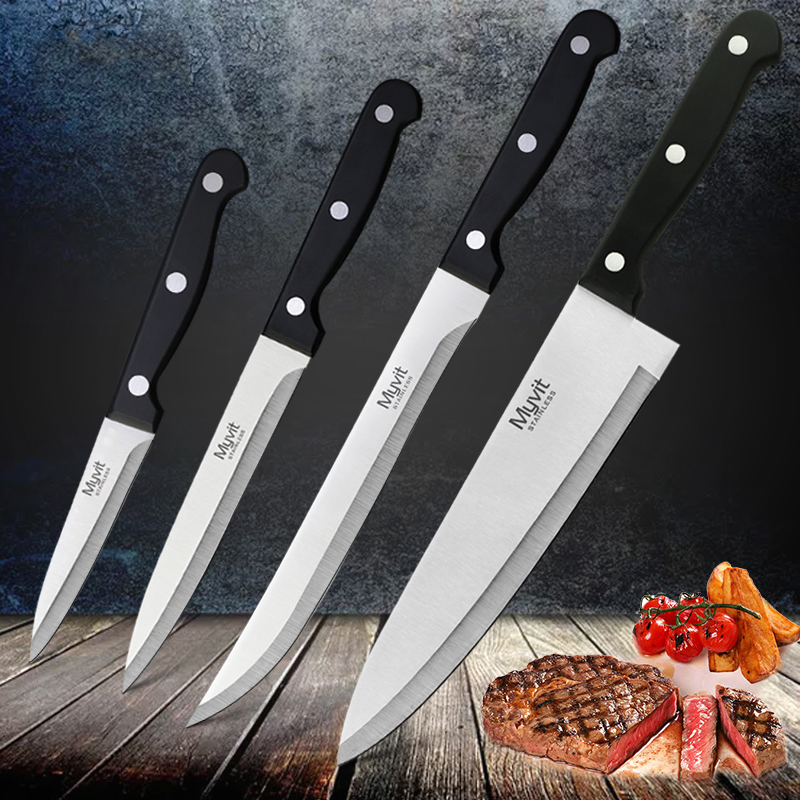 4pc MYVIT Stainless Steel Chef Knife Set 3CR13 Kitchen Knife Cook Japanese Kitchen Knife Sharp Meat Cleaver Kitchen Accessorie