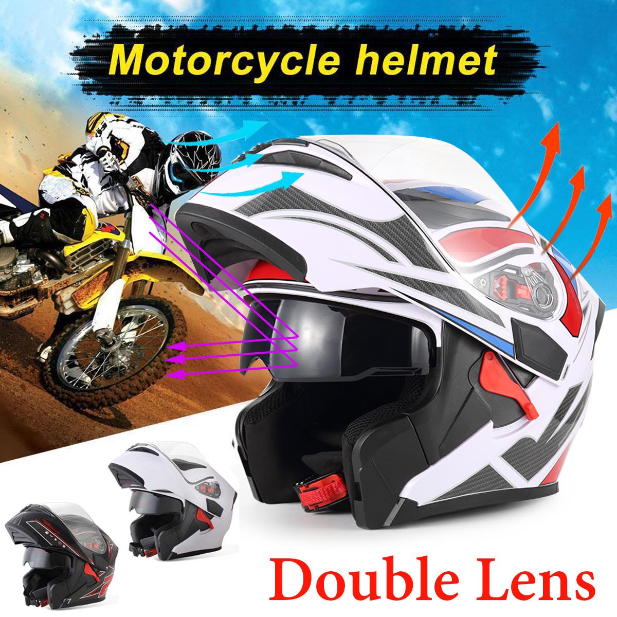 BIKIGHT Dual Visor Exposing Helmet Double Lens Open Face Safety Helmet Motocross Racing Helmets