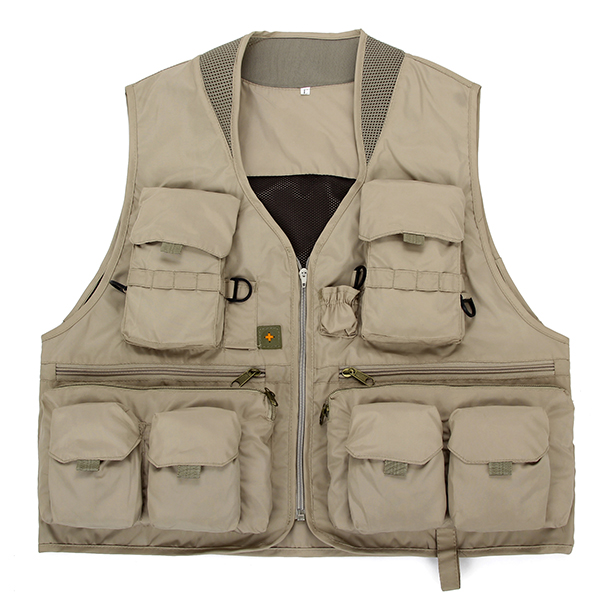 Mens Outdooors Fishing Mesh Solid Color Multi Pocket Casual Travel Breathable Vest Waistcoat
