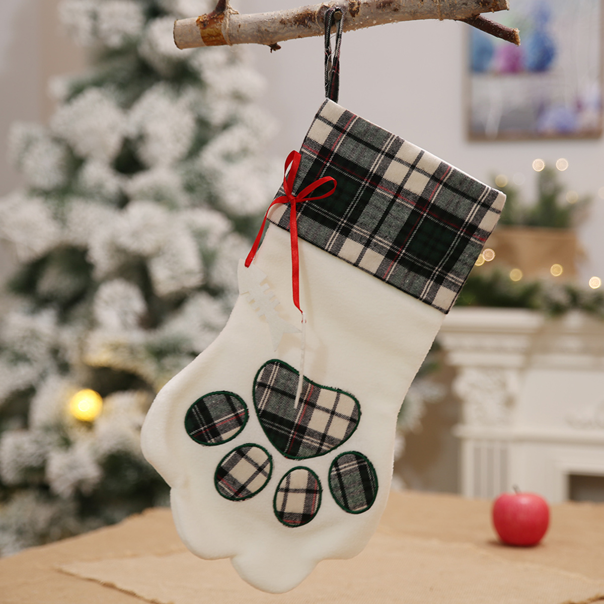 Christmas Stocking for Dog Cat Kids Christmas Gift Bags Tree Hanging Ornament