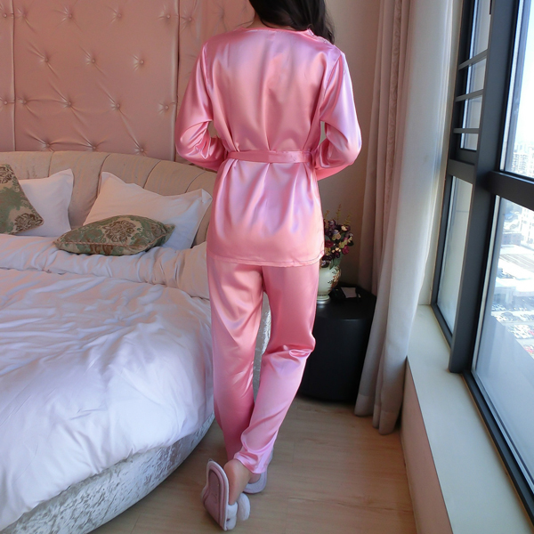 Sexy Women Lace V Neck Long Sleeve Sleepwear Silk Breathable Nightwear Sets