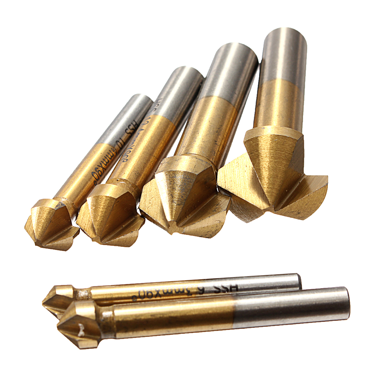 6pcs 6.3-20.5mm 90° 3 Flute Titanium Coated HSS Countersink Drill Bit Set