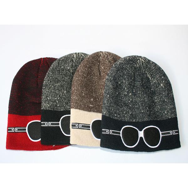 Mens Casual Cartoon Glasses Pattern Knitted Beanie Hat Outdoor Sport Woolen Winter Warm Hat