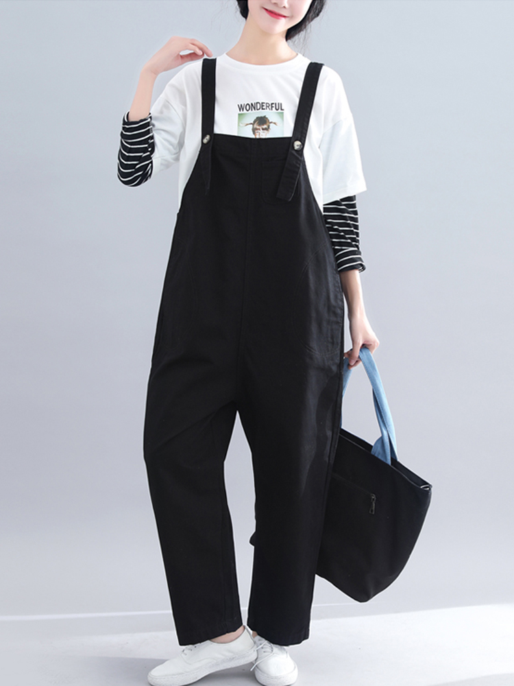 Women Casual Loose Straps Pockets Solid Color Jumpsuit