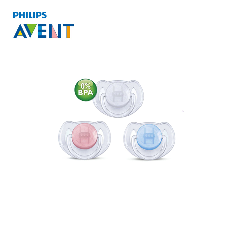 Avent 2pc Transparent Infant Silicone Pacifier (For 6-18 M) Baby Soother BPA Free Toddler Orthodontic Nipples Teether
