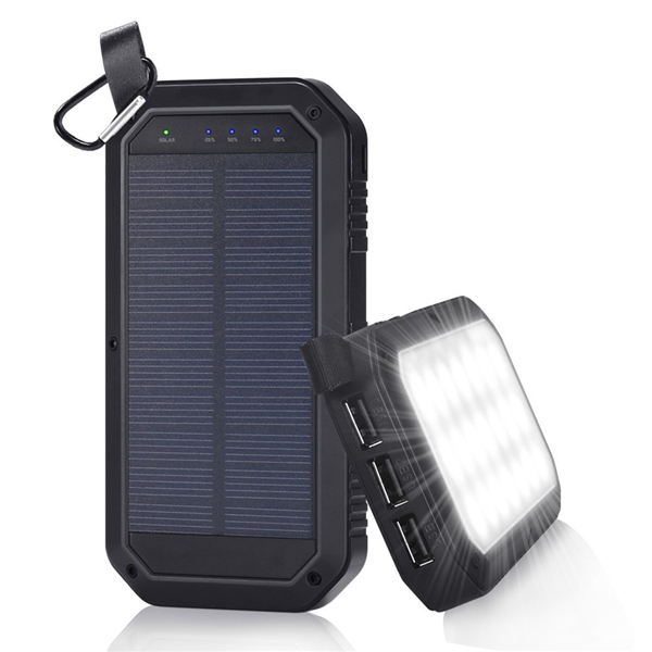 21 LED 8000mAh Portable Solar Powered Camping Light 3 USB Mobile Power Bank for iPhone ipad Android