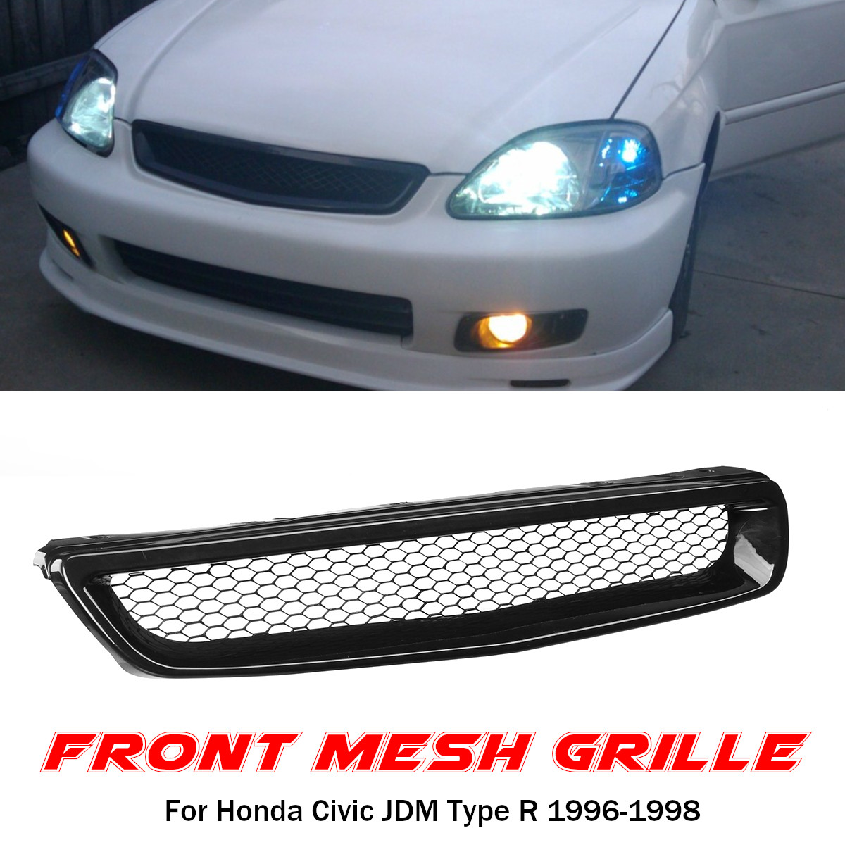 Car Front Hood Mesh Bumper Grille for Honda Civic JDM Type R 1996-1998 Accessories Racing Grills