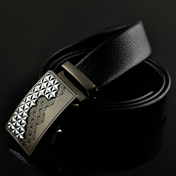 125-130CM Men Business Genuine Leather Belt Casual Automatic Buckle Waistband Belt