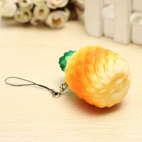 Squishy Pineapple 4.5*7.5cm Fruit Key Chain Phone Bag Strap Pendant Decor Gift