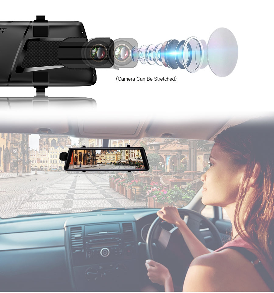 Junsun A900C 10 Inch Full IPS Touch Car DVRs Recorder FHD 1080P Dual Lens Dashcam Rearview Mirror
