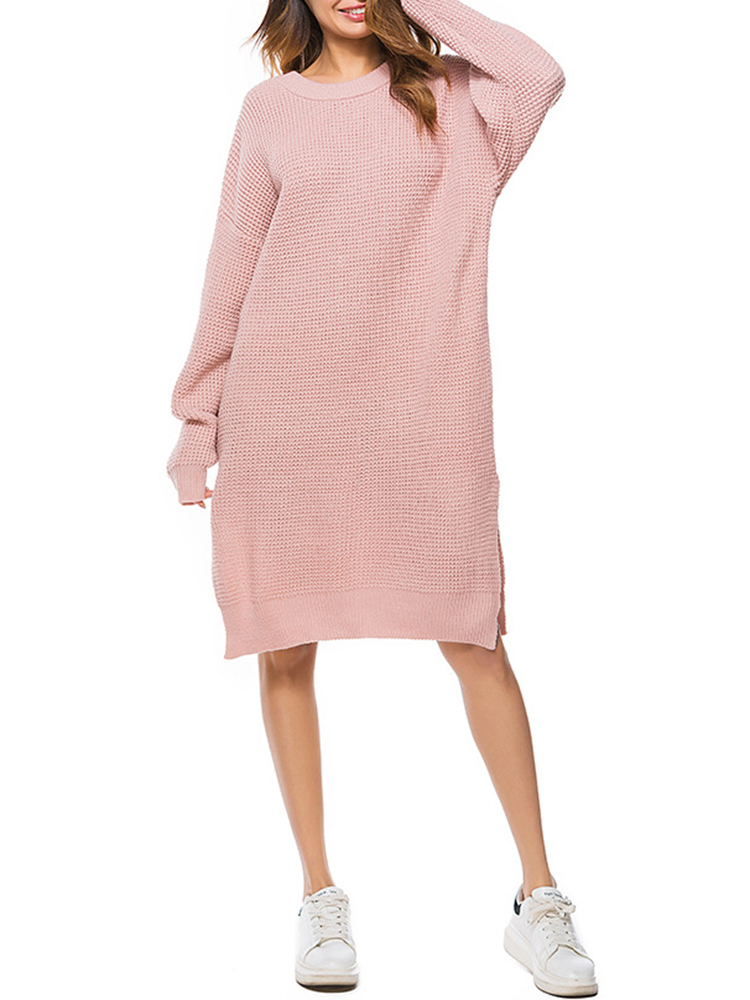 Casual Women Long Sleeve Pure Color Side Slit Pullover Sweater Dress