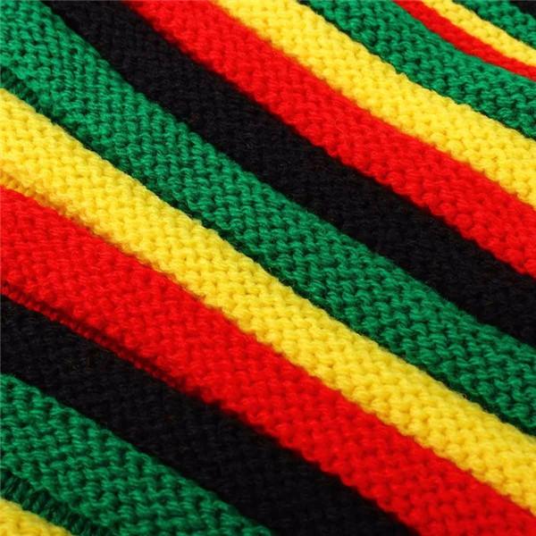 Unisex Knitted Jamaica Reggae Hat Rasta Beanie Gorro Multicolor Stripe Hip-hop Cap
