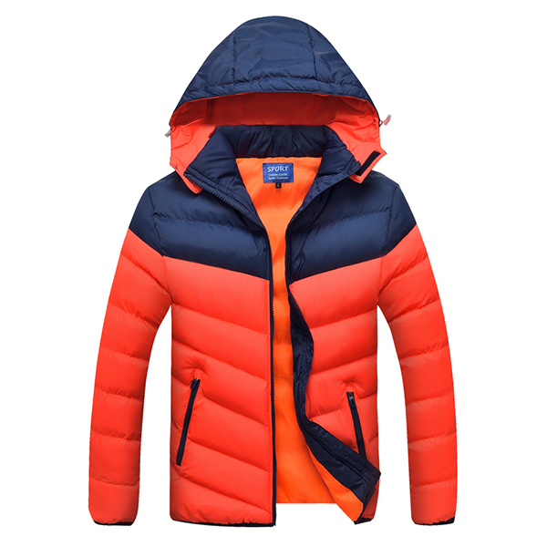 Mens Thick Contrast Color Winter Hooded Detachable Jacket Casual Outdoor Windproof Coat