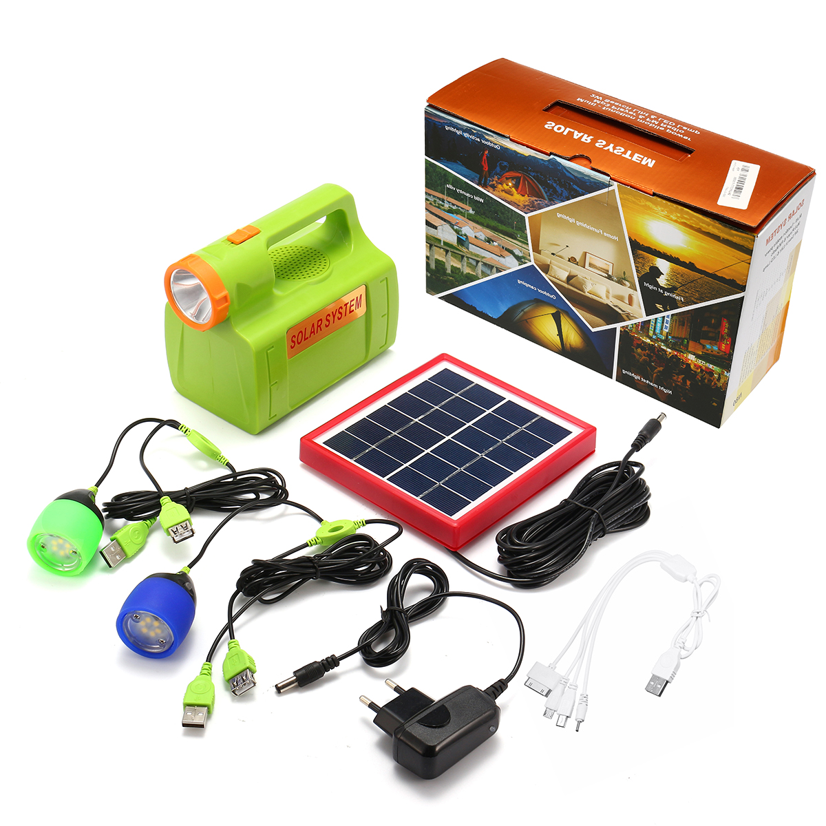 Portable Solar Power Panel Generator LED Light USB Charger Home System Solar Powered System