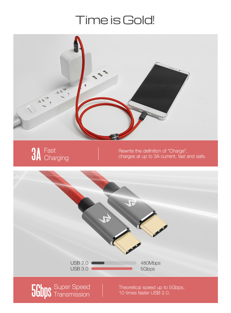 MantisTek® T2 1M 1.8M Type-C Male to Male 3A Quick Charge Sync Data Cable