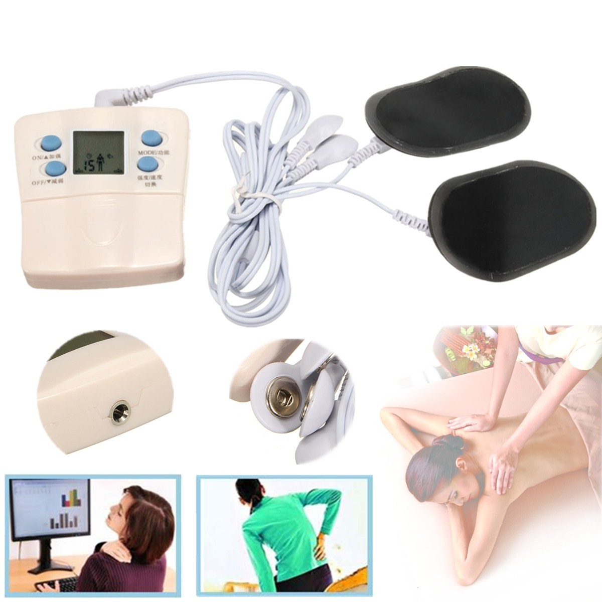 Full Body Slimming Muscle Massager Electronic Pulse Relax Therapy Machine 2 Pads