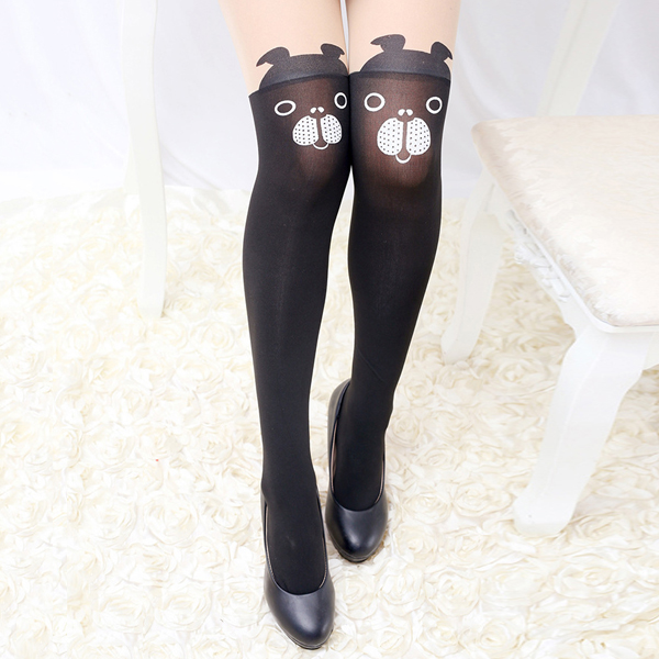 Women Girls Cartoon Animal Pantyhose Kawaii Transparent Elastic Stretchable High Tight Stockings