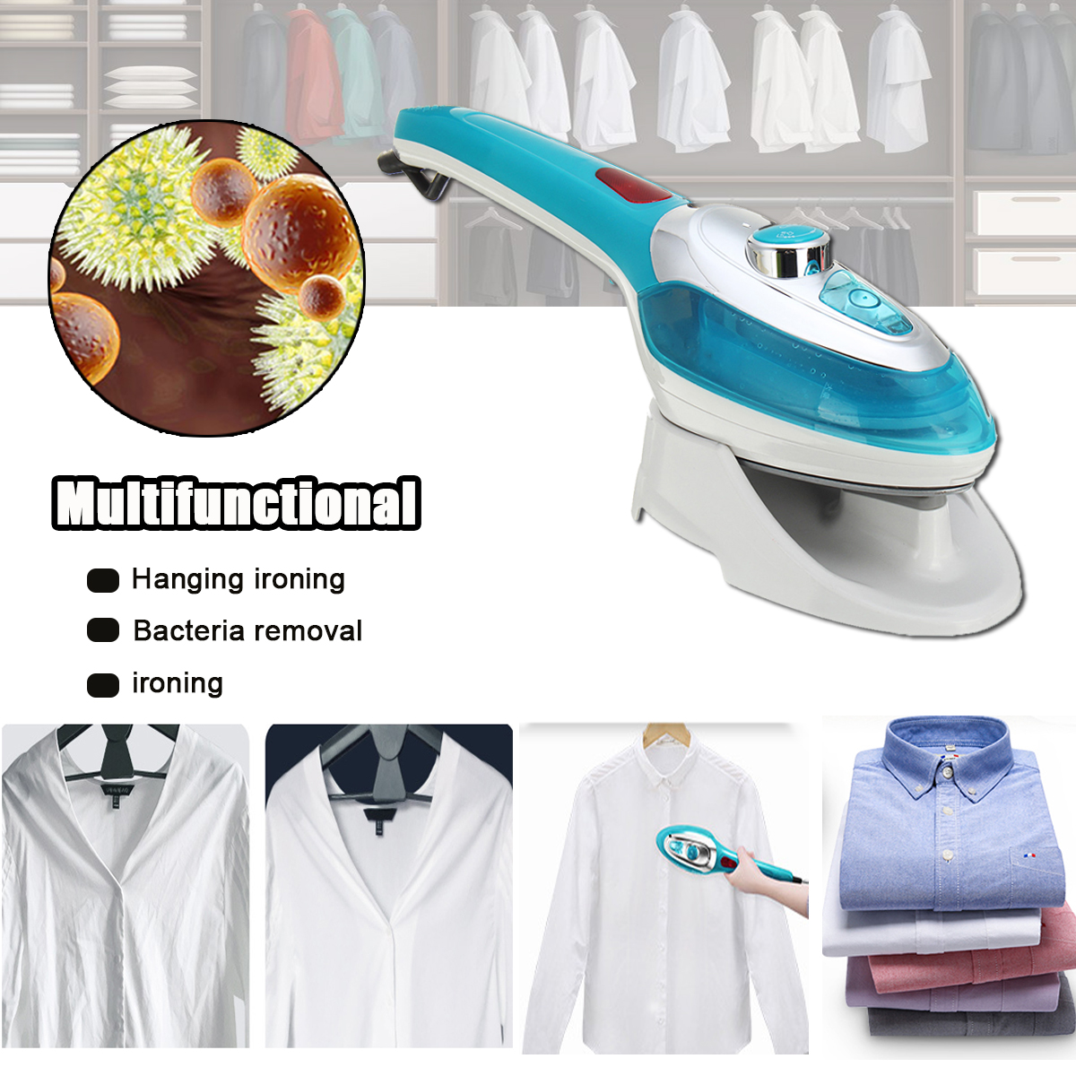 220V 1000W Handheld Garment Steamers Fast Heat-Up Powerful Steam Iron for House Travelling Holiday Business