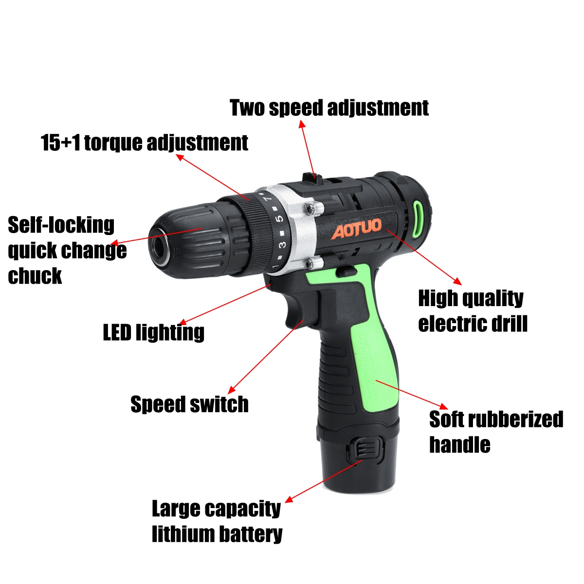 AOTUO 12V Li-Ion Cordless Power Drills Kit Electric Screwdriver Single /Double Speed 2 Battery