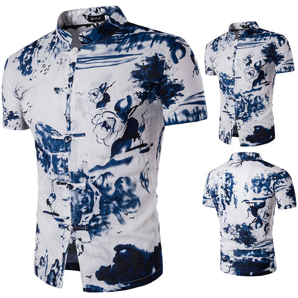 Mens Classical Ink Printing Slim Fit Stand Collar Short Sleeve Casual Summer Linen Shirt
