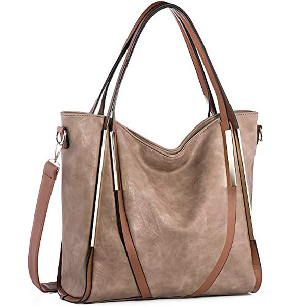 Brenice Women Large Capacity Handbag PU Leather Hardware Tote Shoulder Crossbody Bag
