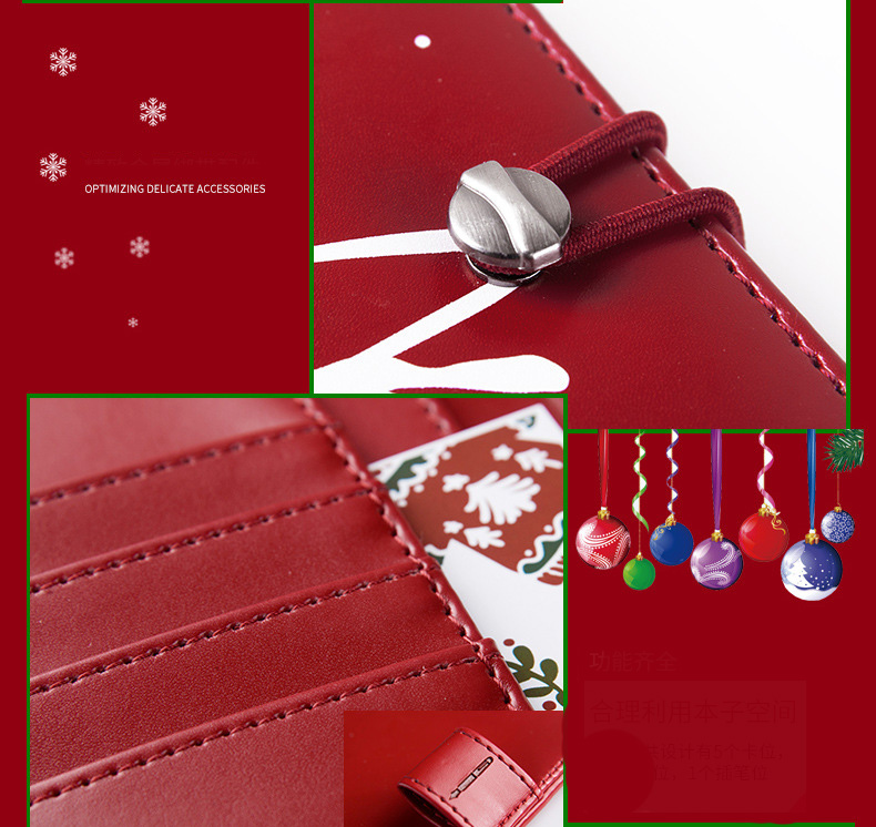 Christmas Gift PU Notebook Hand Account Planner Diary Christmas Presents For Office School