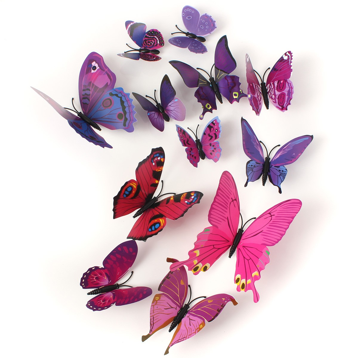 12Pcs 3D Purple Butterfly Wall Stickers Art Decals Home Wedding Party Decoration
