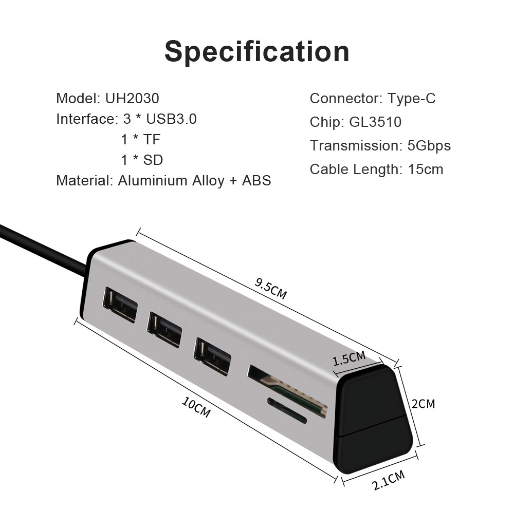 Aluminum Alloy Type-C to 3-Port USB 3.0 Hub TF SD Card Reader with Hidden Phone Support