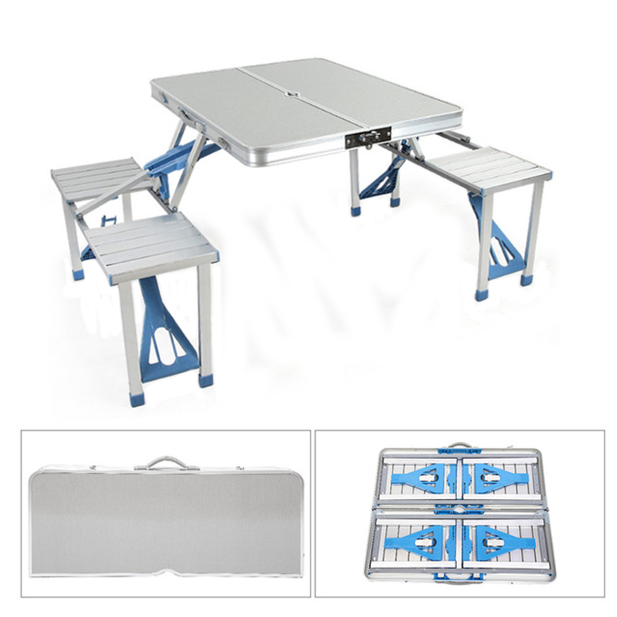 Aluminum Alloy Outdoor Portable Camping Picnic BBQ Folding Table Chair Stool Set