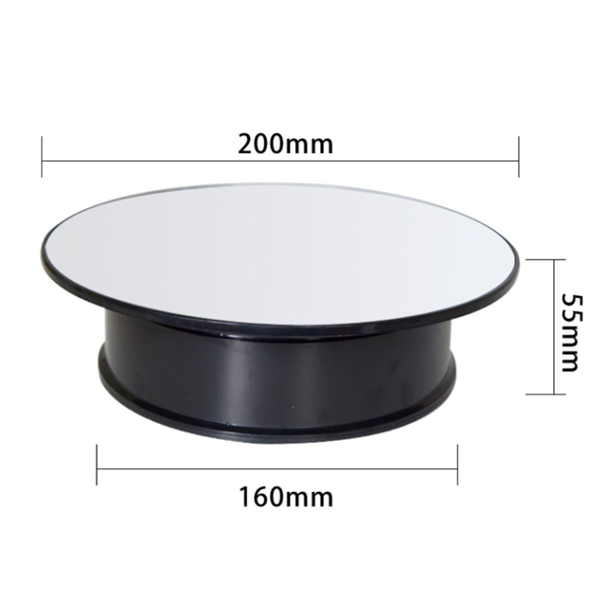 Round Mirror Top Electric Motorized 360° Turntable Rotary Jewelry Display Stand Showcase