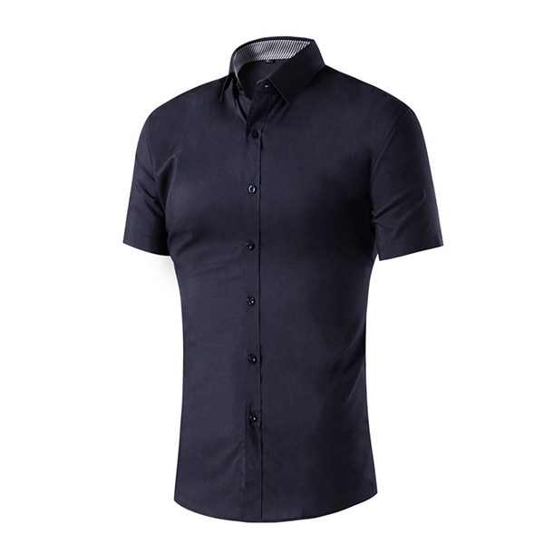 Summer Casual Business Pure Color Lapel Short Sleeve Men Shirts